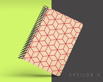 Handmade Minimal Notebook, Blank A5 Recycled Notebook, Grid Eco Friendly Journal, Writing Journal, Spiral Notebook, Writer Gift - EPSILON II