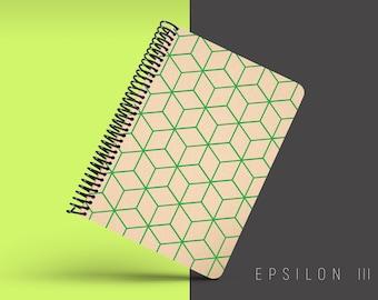 Handmade Minimal Notebook, Blank A5 Recycled Notebook, Eco Friendly Journal, Writing Journal, Spiral Notebook, Writer Gift - EPSILON III