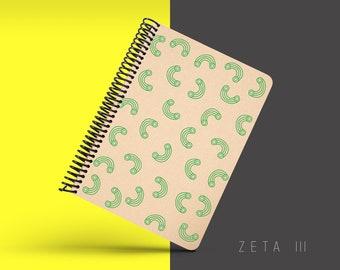 Handmade Minimal Notebook, Blank A5 Recycled Notebook, Grid Eco Friendly Journal, Writing Journal, Spiral Notebook, Writer Gift - ZETA III