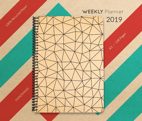 2019 Planner, Handmade Minimal Planner, A5 Recycled Planner, Weekly Planner 2019, 2019 Diary, Spiral Planner, 2019 Calendar
