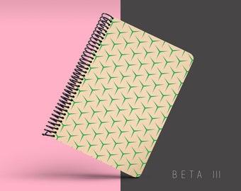 Handmade Minimal Notebook, Blank A5 Recycled Notebook, Grid Eco Friendly Journal, Writing Journal, Spiral Notebook, Writer Gift - BETA III