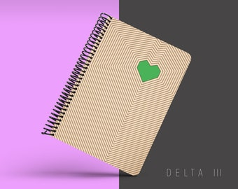 Handmade Minimal Notebook, Blank A5 Recycled Notebook, Grid Eco Friendly Journal, Writing Journal, Spiral Notebook, Writer Gift - DELTA III