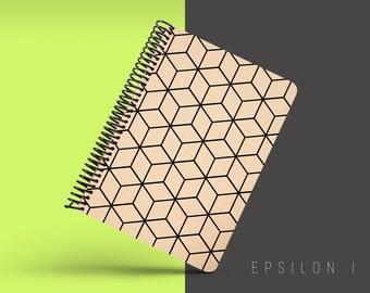 Handmade Minimal Notebook, Blank A5 Recycled Notebook, Grid Eco Friendly Journal, Writing Journal, Spiral Notebook, Writer Gift - EPSILON I
