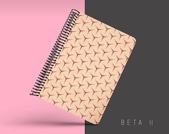 Handmade Minimal Notebook, Blank A5 Recycled Notebook, Grid Eco Friendly Journal, Writing Journal, Spiral Notebook, Writer Gift - BETA II
