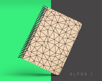 Handmade Minimal Notebook, Blank A5 Recycled Notebook, Grid Eco Friendly Journal, Writing Journal, Spiral Notebook, Writer Gift - ALPHA I