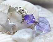 Purple Memorial Cremation Jewelry Silver Plate Crescent Moon and Star Necklace - Fillable Ashes Bottle - Urn Pendant - Gift for Her