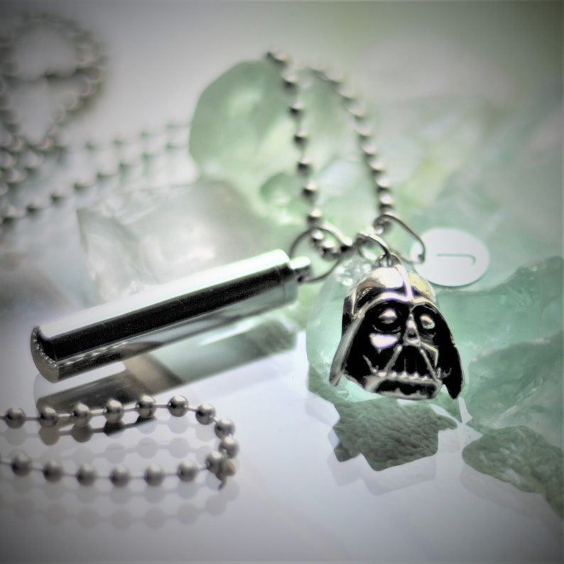 Star Wars Cremation Jewelry Necklace Star Wars Star Memorial Ashes Urn Darth Vader High Silver Letter Charm; U Choose