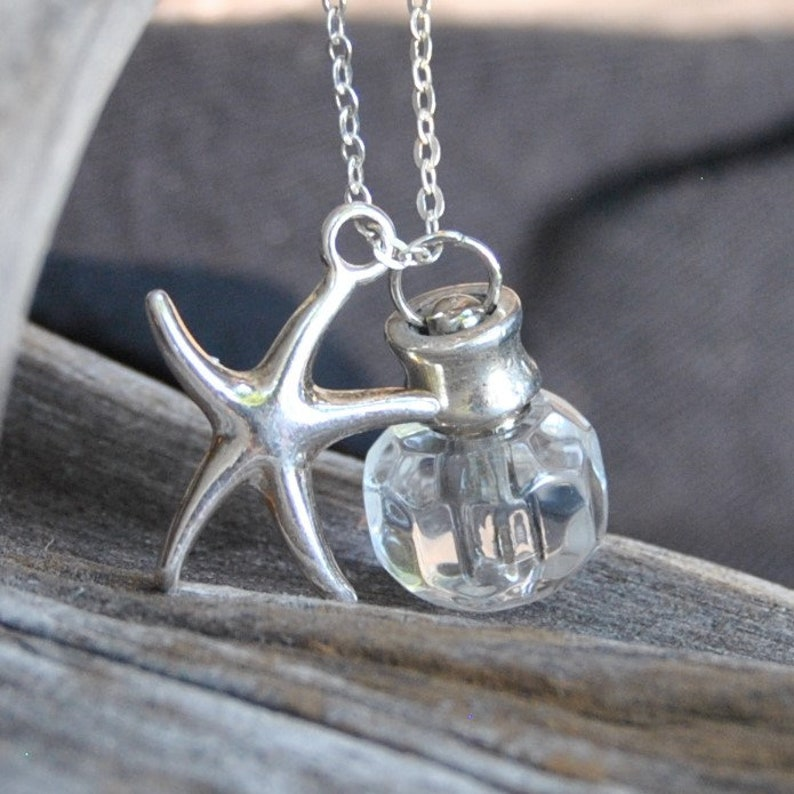 25a4529414569 SP Star Fish Cremation Jewelry Necklace, Silver Plate; Glass Necklace,  Memorial Jewelry Necklace Ashes Pendant Urn Gift for Her