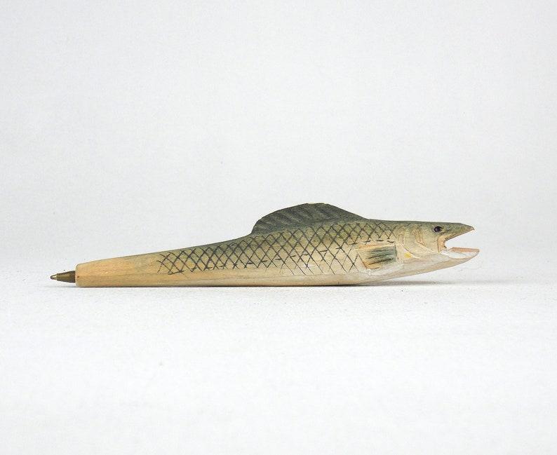Wooden fish pen Desktop hand painted pens Office decor wood pen fish pen