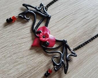 Heart flower wings necklace