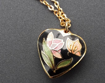 Gold Toned Cloisonne Heart Necklace With Flower and Butterfly