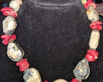 Red coral and Stone choker necklace