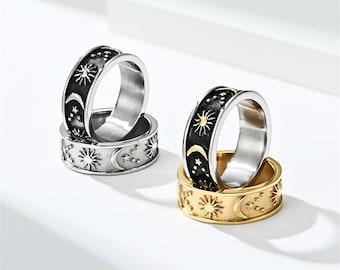 PERIMADE Boho Style Star Moon Sun Couple Ring