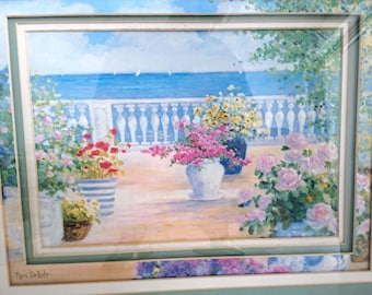 Vintage Collector's Signed Art Print by the seaside Nora Debolt