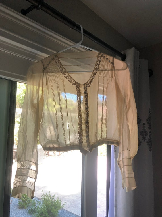 Vintage True Antique 20s Silk Sheer Crop Blouse T… - image 1