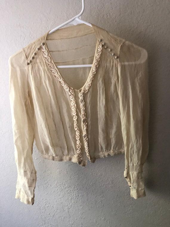 Vintage True Antique 20s Silk Sheer Crop Blouse T… - image 2
