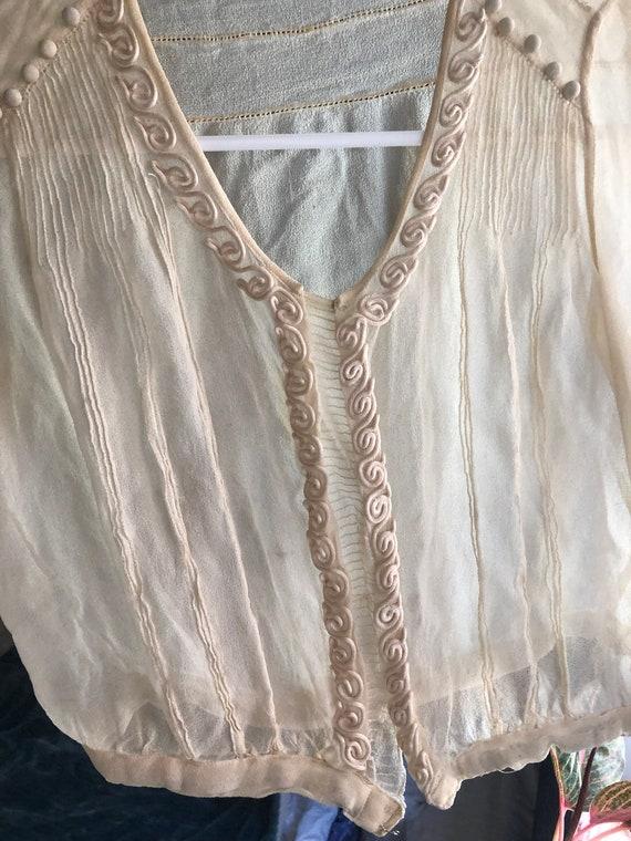 Vintage True Antique 20s Silk Sheer Crop Blouse T… - image 3