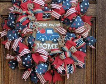 Patriotic Wreath, Summer Wreath, Red White and Blue, Truck Wreath, Deco Mesh Wreath, Rustic Wreath, Memorial Day, 4th of July, Gift