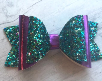 Green purple glitter bow | Metallic purple bow | Mermaid bow