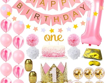 1st Birthday Decorations For Girl Pink And Gold Girls Theme Kit Set