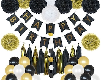 85 Pieces Birthday Party Decoration Set In Gold And Black Perfect For Any