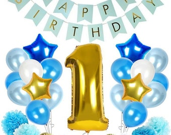 1st Birthday Boy Decoration Kit In Beautiful Pastel Colors Ft Giant Number One Mylar Balloon