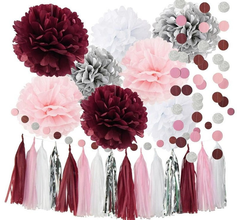 Bridal Shower Decorations Burgundy Pink White Silver Wedding Etsy