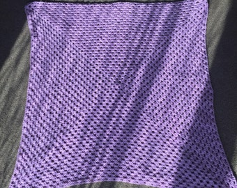 Perfect purple crocheted baby blanket.