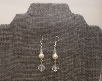 Crystal and Pearl Dangle Earrings
