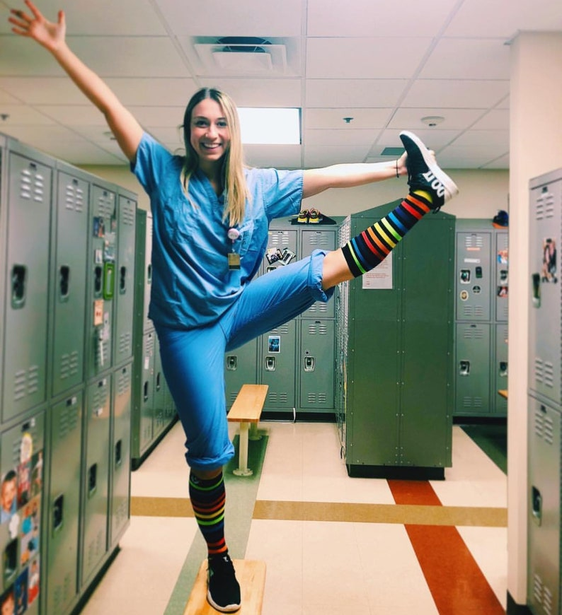 NEW Pair Fun Funky Rainbow Compression Socks by Frisky Feet Striped Unisex for Nurses Runners Teachers Traveling Hiking Recovery