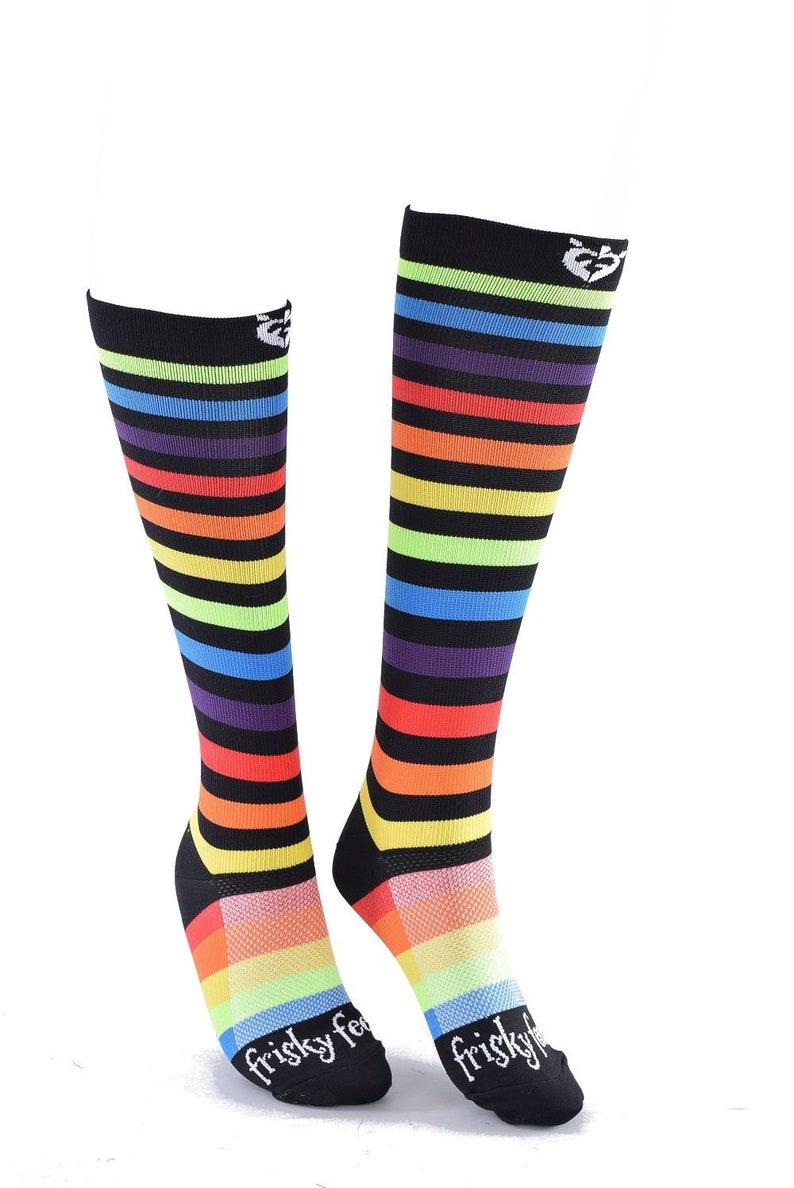 fb53d6bc2 NEW Pair Fun Funky Rainbow Compression Socks by Frisky Feet