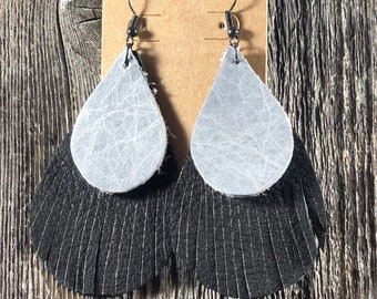 Layered Grey with Black Fringe Leather Earrings