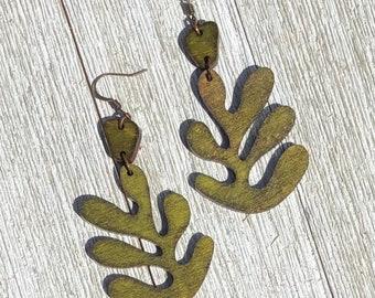Olive Matisse Leaf Earrings