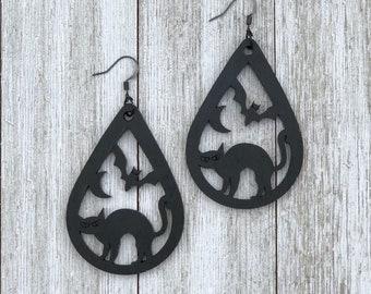 Black Cats and Bats Halloween Earrings