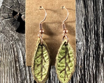 Small Green Leaf Leather Earrings
