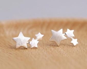 Silver Star Stud Earrings, Sterling Silver Star Earrings, Minimal Post Earrings, Tiny Star Studs, Tiny Silver Studs, Silver Earrings