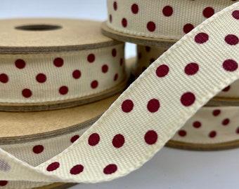 East Of India 3m Ribbon Spool Grey Polka Dot