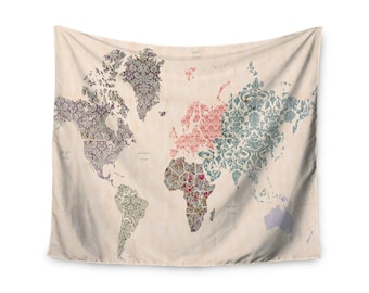 World map tapestry etsy boho vintage old world map custom printed unique dorm decor apartment decor trendy wall art printed wall hanging wall tapestry gumiabroncs Images