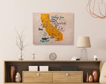 Delightful California Map Printed Birchwood Wall Art Unique Trendy Home Decor College  Dorm Room Wood Custom