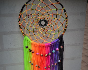 Neon Rainbow UV Galaxy-Themed Dreamcatcher