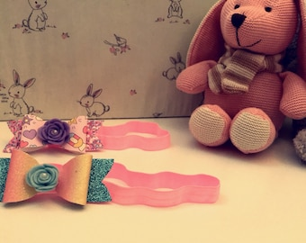 Hairband Bows with flower centres