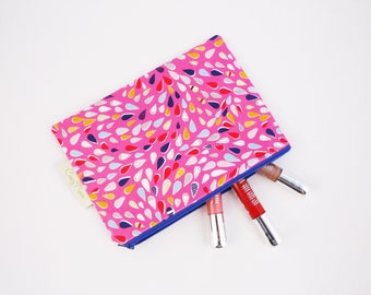 Pink and Multi Coloured Makeup Bag / Cosmetic Bag / Makeup Pouch / Zipper Pouch