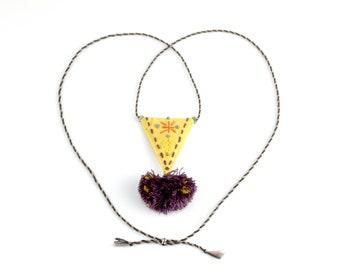 Fabric Pendant with Pom Pom - Adjustable Necklace