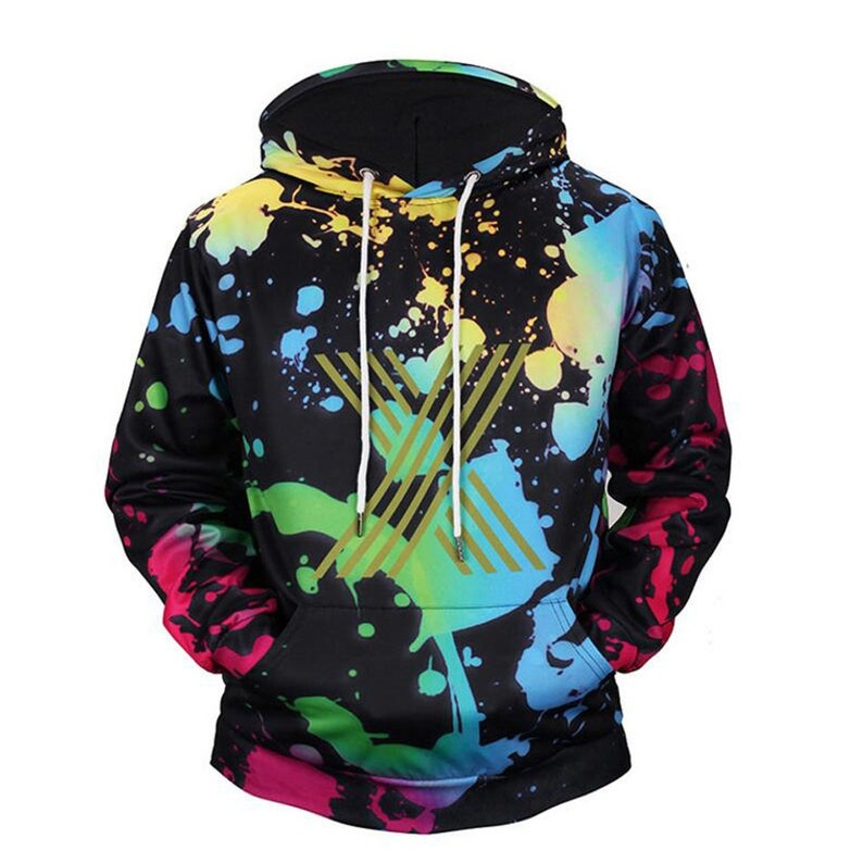 Men's Clothing Psychedelic Fireworks Digital Print Tide Men Sweatshirts Harajuku Casual Hoodies Hoody Colorful Lines Gradient Hooded Tops