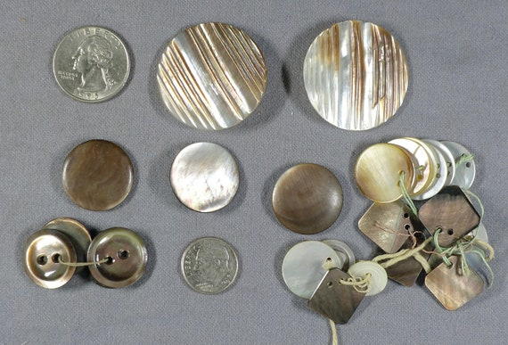 Antique Vintage Mother Of Pearl Buttons And Tags Etsy