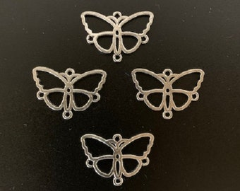 10x Charms Pendant Butterfly Cabochons Base Jewellery Crafts Tibetan Silver//S809