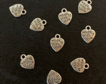 Made with Love Charms Tibetan Silver Pendant Pack of 20