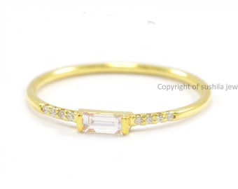 14k Solid Yellow Gold Stackable Baguette Diamond Minimalist Ring Handmade Jewelry