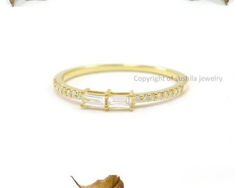 Solid 14k YELLOW Gold GH I1 Diamond Conflict Midi Cuff Split Ring Jewelry Minimal Minimalist Thin Stackable Skinny Band Stacking