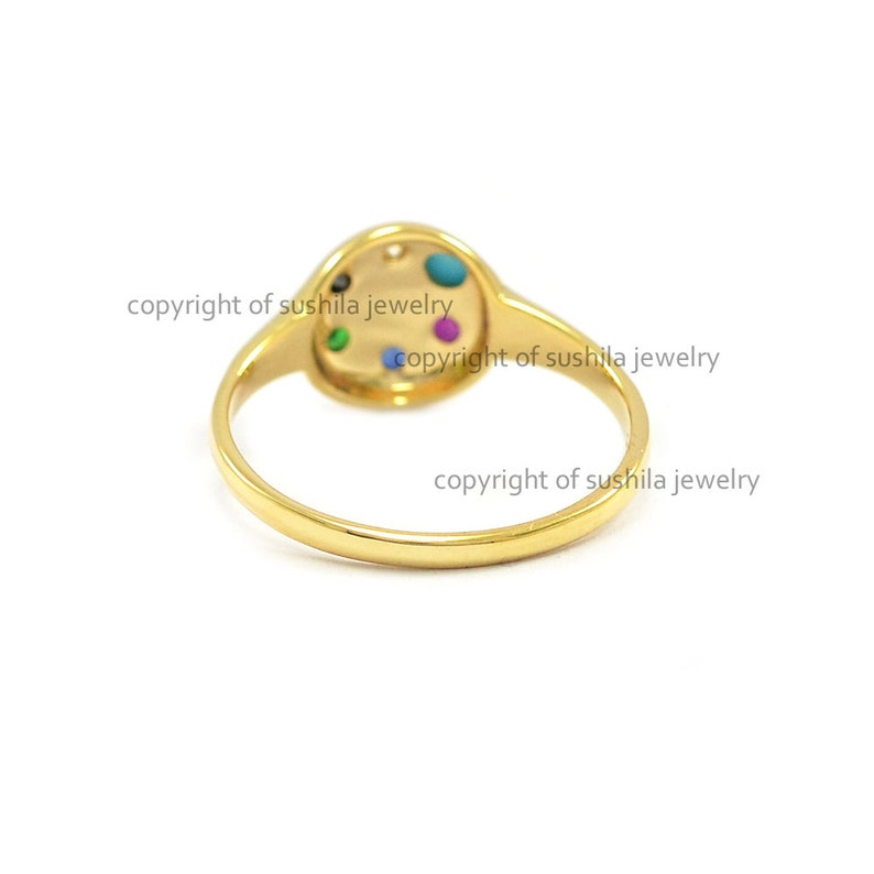 Genuine Multi Gemstone and Diamond Stackable Vintage Engagement Band Ring IN Solid 14k Yellow Gold Minimalist Jewelry Gift